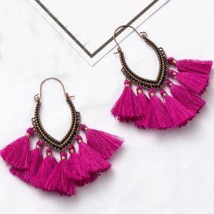 Jewelry - NEW Pink Tassel Boho Hoop Earrings